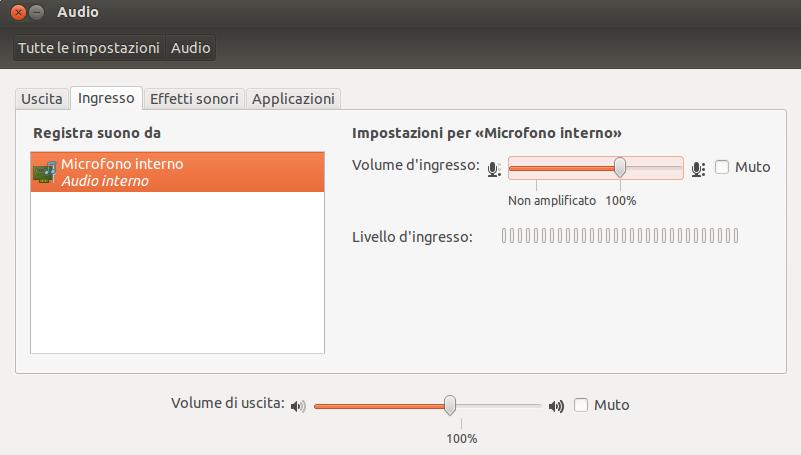 Impostazioni audio